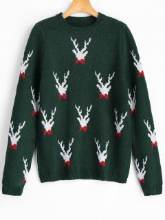 Reindeer Graphic Christmas Sweater - Blackish Green