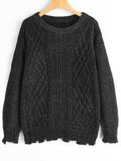 Cable Knit Drop Shoulder Plain Sweater - Black