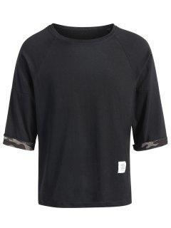 Camo Lining Manga Camiseta - Negro 2xl