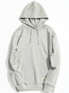 Kangaroo Pocket Patch Design Hoodie - Gray 5xl