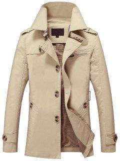 Mens Button Up Cargo Jacket - Light Khaki L