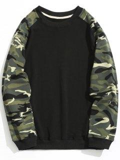 Raglan Sleeve Camo Sweatshirt - Black 3xl
