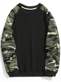 Raglan Sleeve Camo Sweatshirt - Black Xl