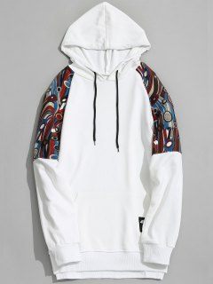 Kangaroo Pocket Patterned Hoodie - White Xl