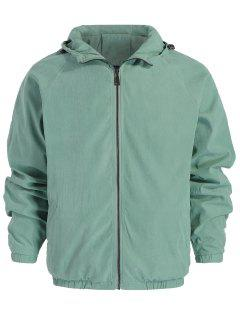 Zipper Hooded Jacket - Green M