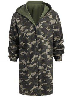 Reversible Longline Camouflage Coat - Army Green Xl