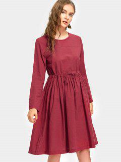 Long Sleeve Drawstring Waist A Line Dress - Wine Red M