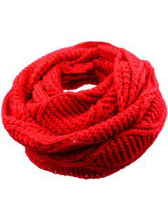 Soft Thicken Ribbed Knit Winter Scarf - Bright Red