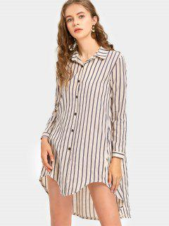 Long Sleeve Vertical Stripe Shirt Dress - Light Khaki M