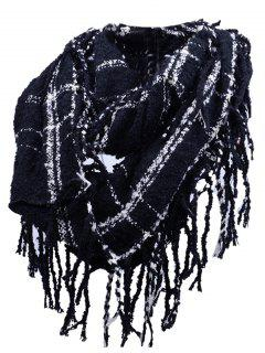 Vintage Fringed Edge Artificial Cashmere Scarf - Black