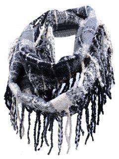 Vintage Fringed Edge Artificial Cashmere Scarf - Black Stripe