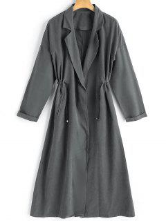 One Button Lapel Trench Coat - Deep Gray Xl