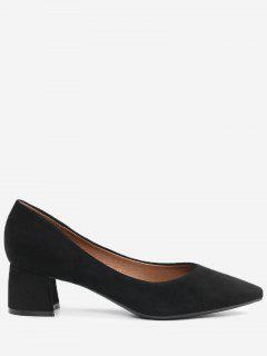 Pointed Toe Mid Heel Pumps - Black 40