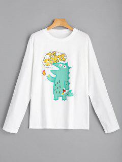 Dinosaurier Grafik Langarm T-Shirt - Weiß