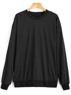 Crew Neck Back Lace-up Sweatshirt - Black M