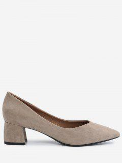 Pointed Toe Mid Heel Pumps - Apricot 34