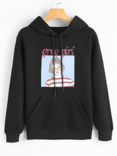 Cute Figure Cartoon Hoodie - Black M