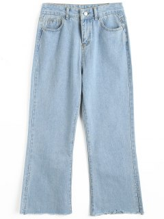 Frayed Hem Slit Boot Cut Jeans - Light Blue M