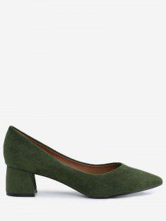 Pointed Toe Mid Heel Pumps - Green 34