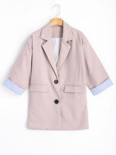 Button Up - Gestreifter Reversblazer Mit Taschen - Rötlich Getönt Grau S