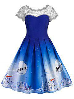 Christmas Vintage Lace Insert Pin Up Skater Dress - Blue M