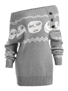 Halloween Skull Off The Shoulder Tunic Sweater - Gray S