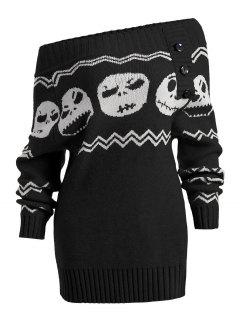 Halloween Skull Off The Shoulder Tunic Sweater - Black S