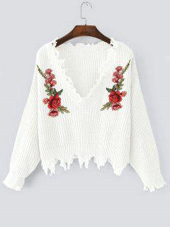 V Neck Frayed Floral Embroidered Pullover Sweater - White