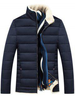 Stand Collar Zipper Up Quilted Jacket - Purplish Blue Xl