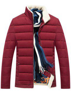 Stand Collar Zipper Up Quilted Jacket - Wine Red 3xl