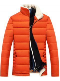 Stand Collar Zipper Up Quilted Jacket - Orange Xl