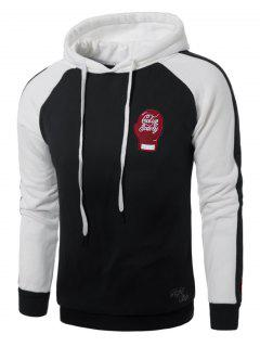 Hooded Gloves Embroidered Fleece Pullover Hoodie - Black 5xl