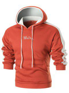 Colorblocked Graphic Embroidery Fleece Hoodie - Orange  M