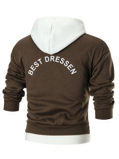 Graphic Back Color Block Pullover Fleece Hoodie - Dun L