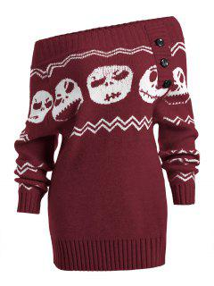 Suéter De Túnica De Halloween Skull Off The Shoulder - Burdeos S