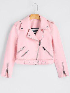 Asymmetric Zipper Belted Faux Leather Jacket - Pink M