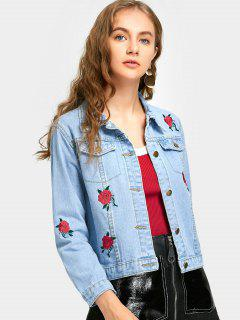 Flower Embroidery Denim Jacket With Pocket - Light Blue M