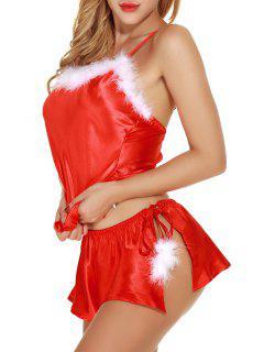 Satin Feder Unterhemd Top Santa Nachtwäsche Set - Rot Xl