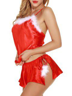 Satin Feather Camisole Top Santa Sleepwear Set - Red 2xl