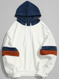 Pockets Color Block Hoodie Men Clothes - White M