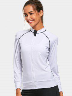 Slim Fit Zippered Yoga Jacket - White L