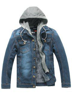 Faux Fur Lining Zip Hooded Denim Jacket - Blue 3xl