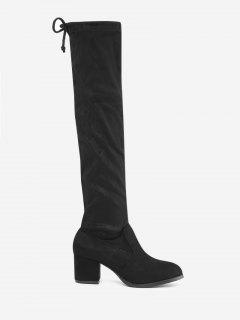Tie Up Flap Suede Over The Knee Boots - Black 38