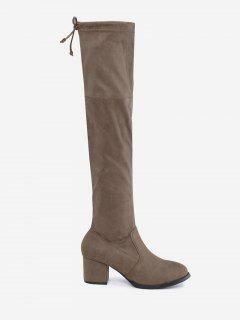 Tie Up Flap Suede Over The Knee Boots - Apricot 38