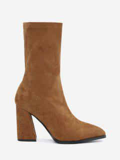 Pointed Toe High Heel Boots - Brown 38
