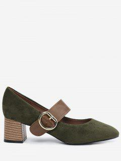 Block Heel Buckle Strap Pumps - Army Green 36