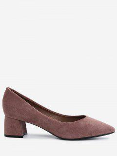 Pointed Toe Mid Heel Pumps - Bean Paste Color 40