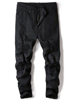 Straight Leg Stretch Destroyed Jeans - Black 36