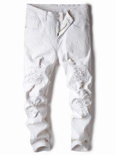 Straight Leg Stretch Destroyed Jeans - White 36