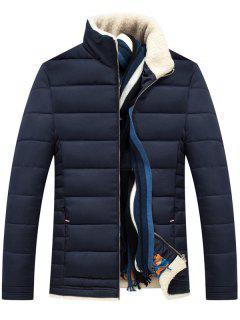 Stand Collar Zipper Up Quilted Jacket - Purplish Blue 2xl